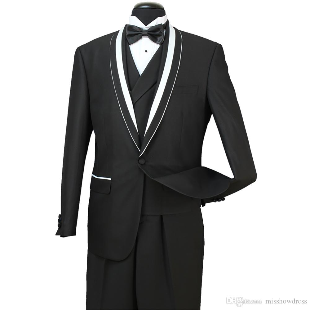 Stok Erkek Biçimsel Wedding yılında 8 Fotoğraf 30 2018 Damat Groomsmen Tuexdos İş Şal Yaka 3 adet ceket + Yelek + Pantolon ST007 Wear Takımları