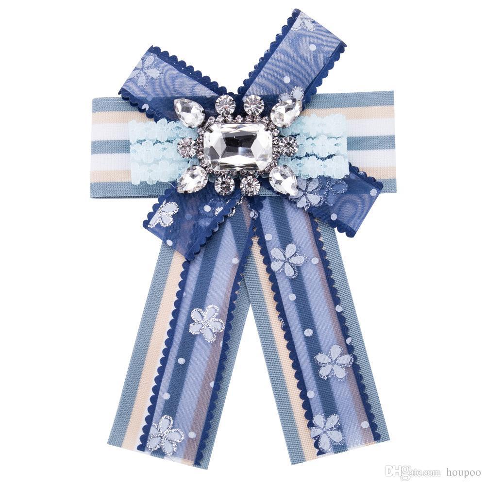 Elegant 4 Colors Lapel Pin Stripe Lace Bow Ties Brooch Broaches Women  Designer Brooch Enamel Pin Wedding Centerpieces Party Decoration
