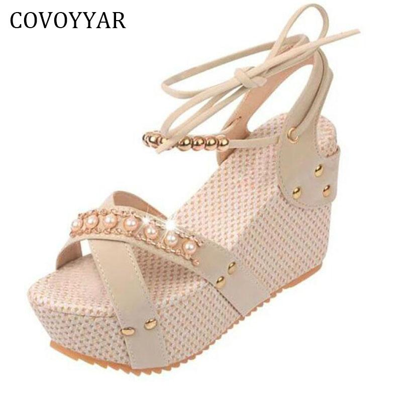 Covoyyar 2018 Bohemia Rhinestone Women Sandals Summer Fashion Beading  Platform Wedge Women Shoes Ankle Strap Casual Shoes Wss545 High Heel Shoes  Wholesale ... 6a1d984c9c35