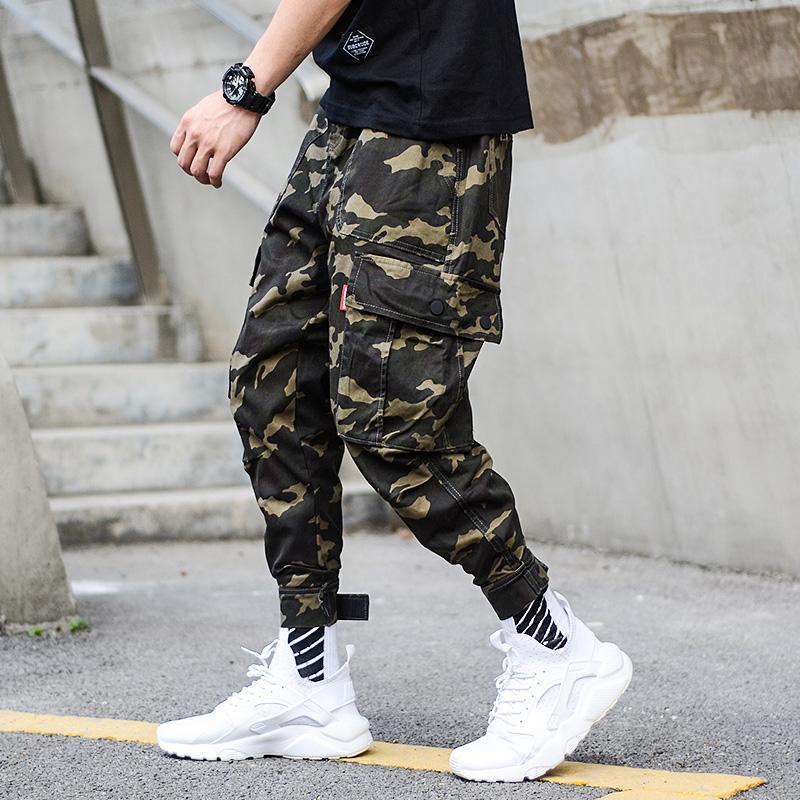 Acheter Mode Camouflage Armée Pantalon Hommes Jogger Jeans Cheville Bandé  Streetwear Punk Style Hip Hop Jeans Hommes Big Pocket Cargo Pants De  47.1  Du ... b41c796e275
