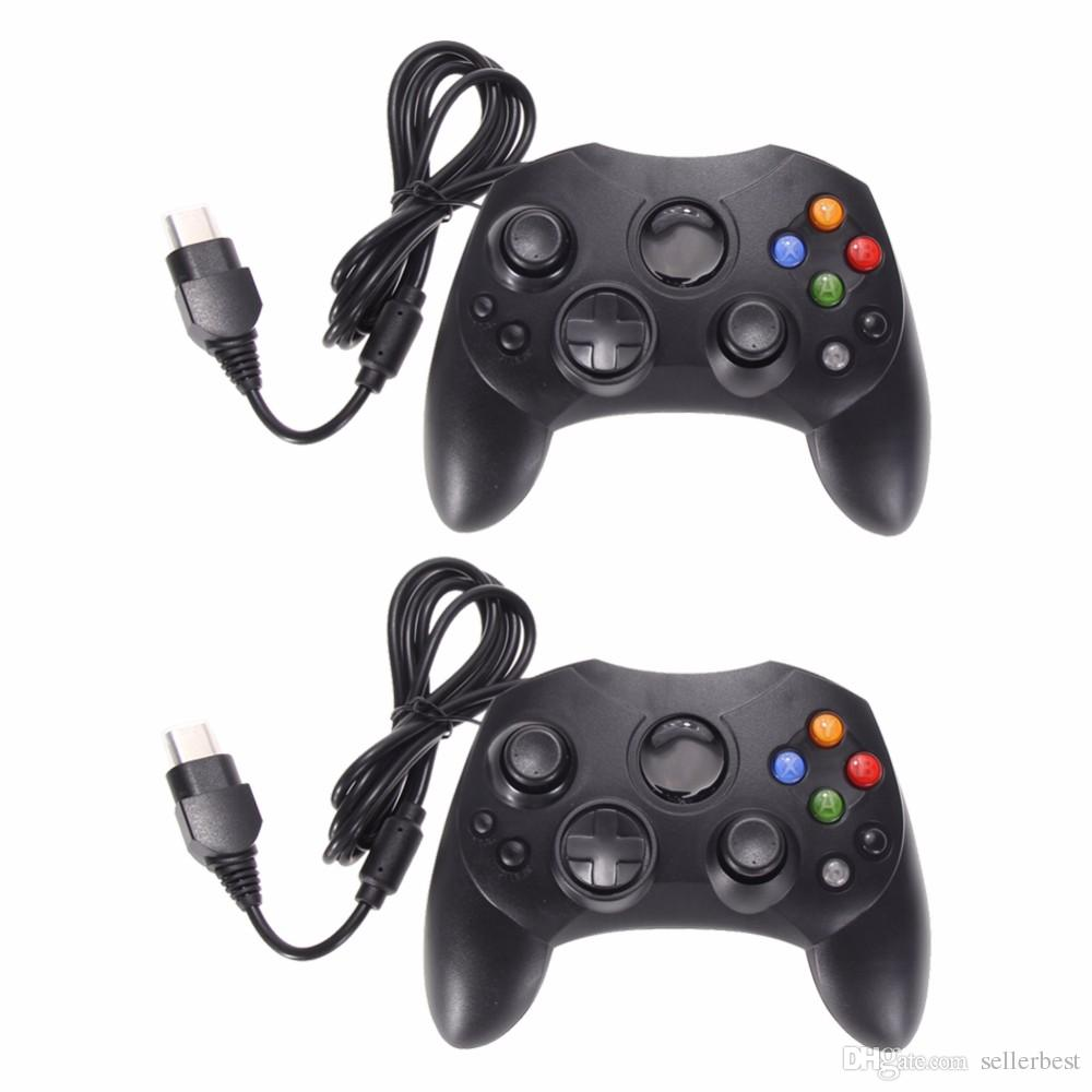 2 pçs / lote moda preto gaming wired game controller pad joystick para microsoft xbox s sistema tipo 2 gamepad com cabo 1.47 m