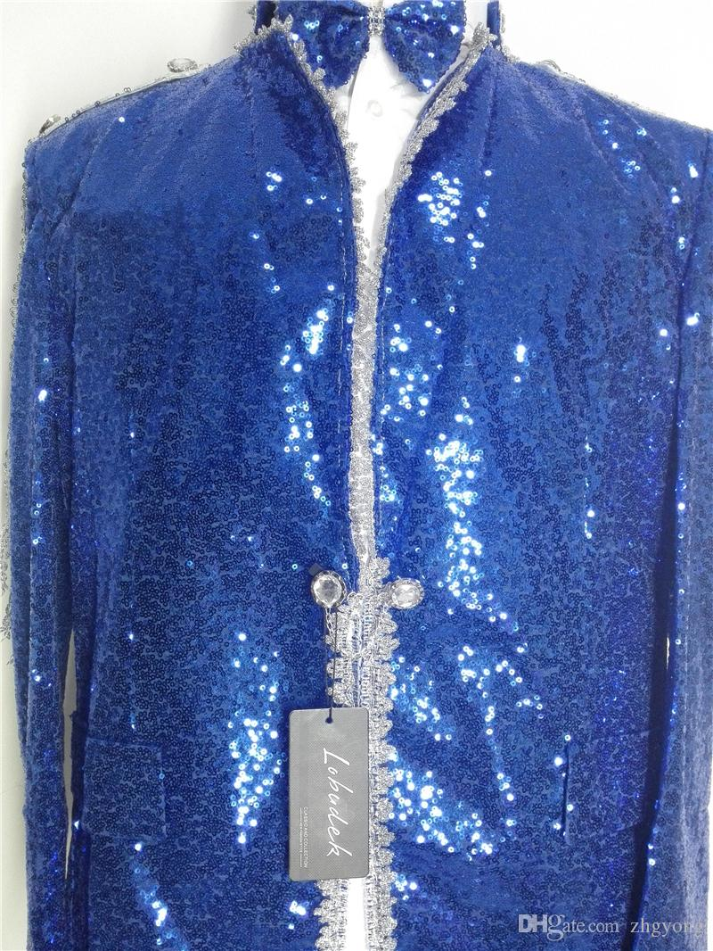 Men's Blue sequins Jackets Crystals Tassels slim Coats Bar Prom singer Dancer Costumes Party stage Performance Clothing Jazz show Outerwears