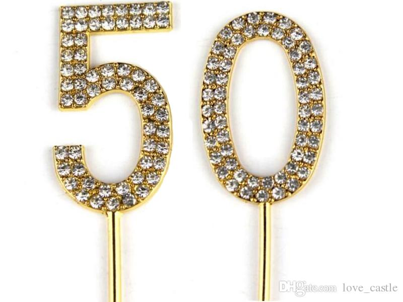 Number 50 Cake Topper 50th Baby Birthday/Wedding Anniversary Cupcake Topper Gold Alloy/Meta with Glitter Crystals Cake Decoration