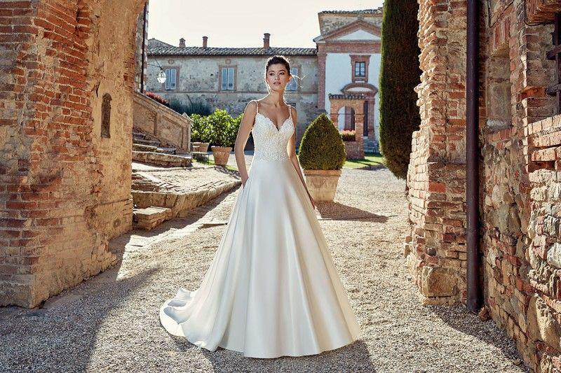 Eddy K Spaghetti Straps V Neck Wedding Dress Lace Appliques Backless Satin Wedding Dresses Bridal Gowns Custom Made