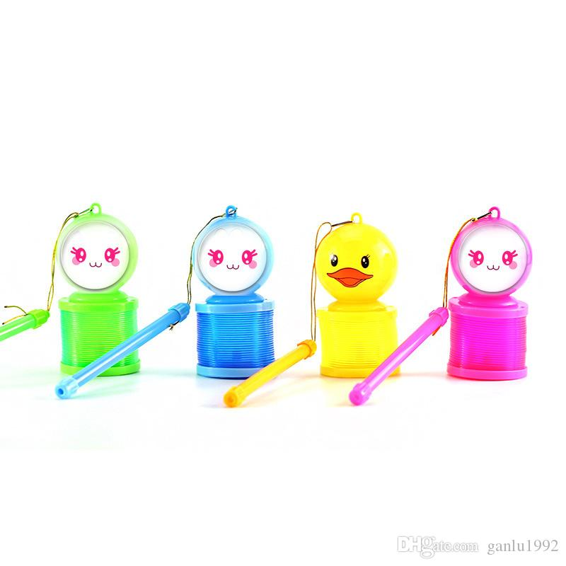 Mini Lantern LED Portable Toy Mix Colour Plastic Screw Spring Lovely Cartoon Rainbow Circle Children Kid Creative 2 8fq V