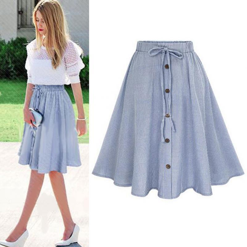 2017 Women Summer Single Breasted High Waist Striped Pleated Long Skirt A  Line UK 2019 From Goodly3128 3a6391ef96f7