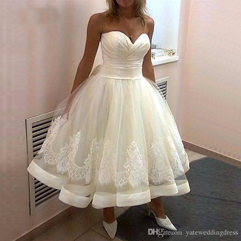 Discount White Short A Line Wedding Dresses Sweetheart Sleeveless