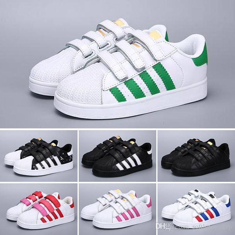 brand new 81dd1 6e433 Großhandel Adidas Branded DIDAS Superstar Sportschuhe Kinder Schuh  Klassisches Design Schwarz Weiß Baby Kinder Sneakers Casual Sportschuhe Von  Softlove shop ...
