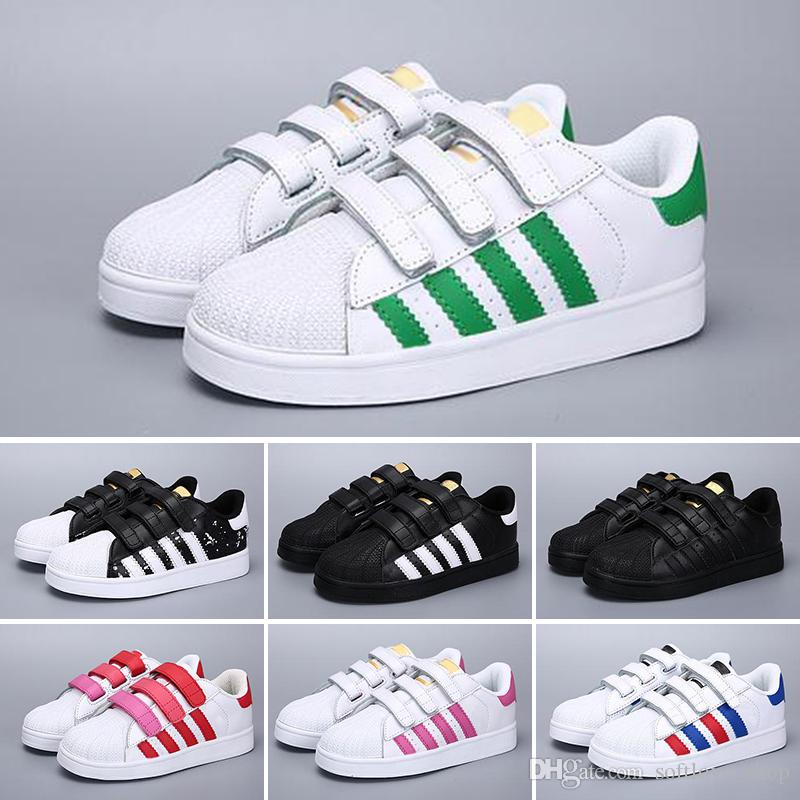 low priced 91f91 5a59e Branded DIDAS Superstar Sports Shoes Children Shoe Classic Design Black  White Baby Kids Sneakers Casual Athletic Trainers Tennis Shoes Toddler Boys  Sneakers ...