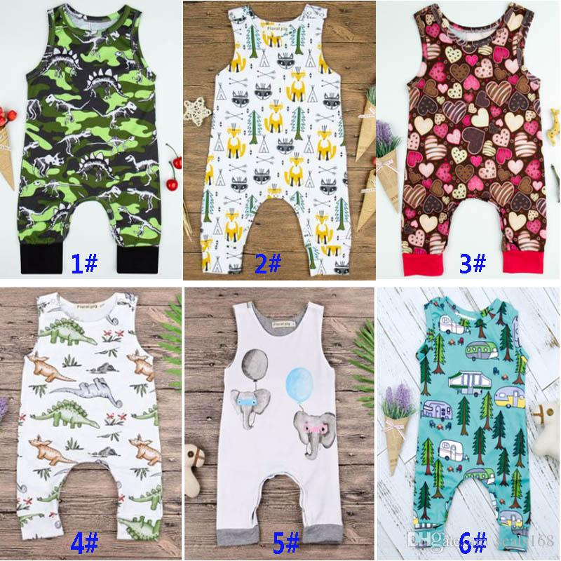 d92c1073d 2019 8 Designs Baby Print Rompers Boy Girls Cactus Forest Road ...