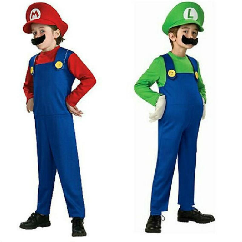 Mario Brother Cosplay Coustme Children Boy Girl Cartoon Game Funny Jumpsuit Halloween Party Masquerade Fancy Outfit Home