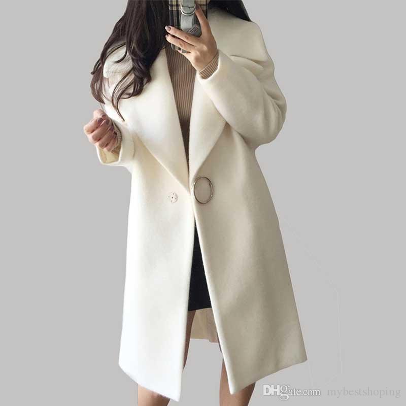 2017 herbst winter mode frauen wollmantel lose nachahmung kaschmir oberbekleidung gepolsterte mantel solide weiße wolle mischung