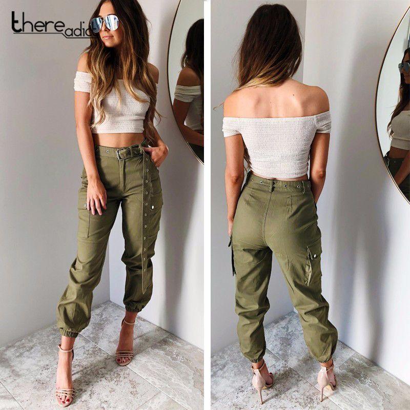 Compre SANTUNE 2018 Pantalones Elásticos De Carga Bolsillos Grandes Para  Mujeres En Ambos Lados Pantalones Casual Correas Largas Safari Pantalones  De ... 691f6e7ce5cc