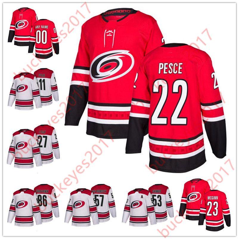 2019 Hot Sale Carolina Hurricanes 2018 New Brand 22 Brett Pesce 23 Brock  McGinn 28 Elias Lindholm 30 Cam Ward Red White Hockey Jerseys From  Buckeyes2017 291ddaec8