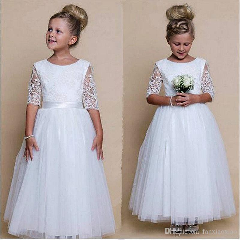7f62f1ae2 Flower Girl Dress Girls Beautiful White First Holy Communion Dresses Sash  Dress Cocktail Dresses Bridesmaids From Fanxiaoxiao, $53.15| DHgate.Com
