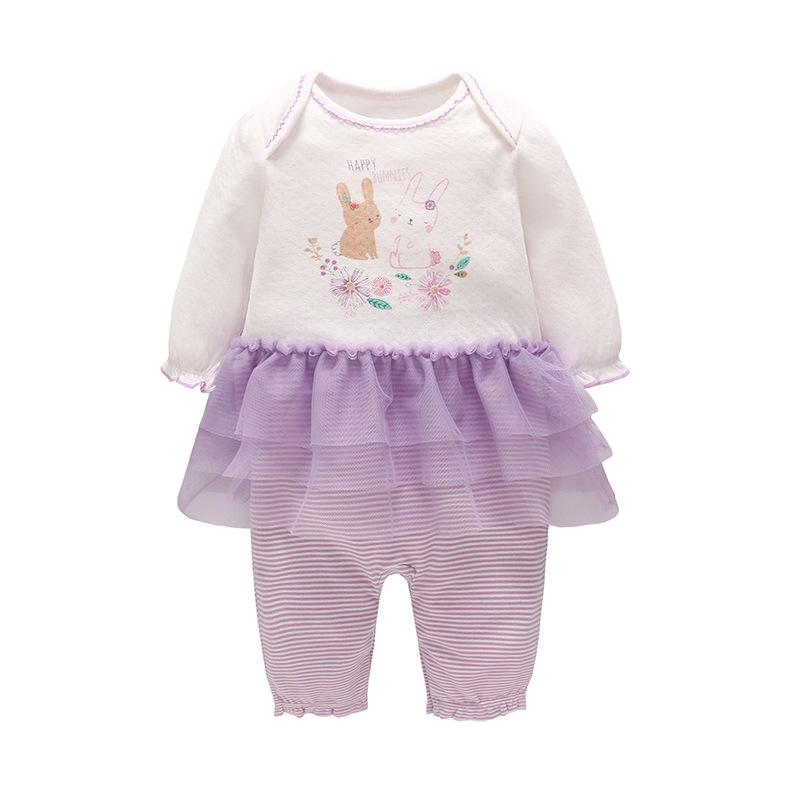 INS Baby clothing romper high quality 100% cotton round collar long sleeve rabbit design purple tutu romper infant girl clothes romper