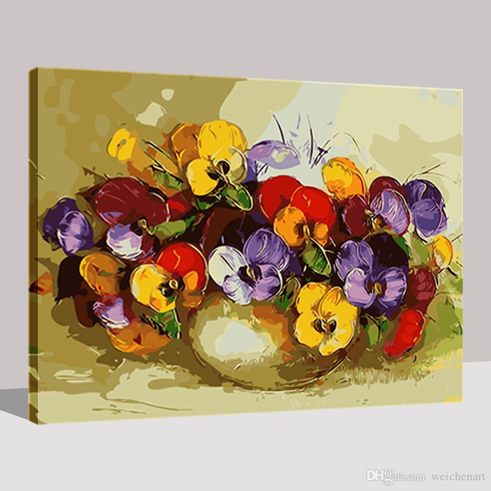 DIY Painting By Numbers Kits Coloring Drawing Canvas Abstract Colorful Moth Orchid Flower Oil Pictures Home Decor Wall Art Frame