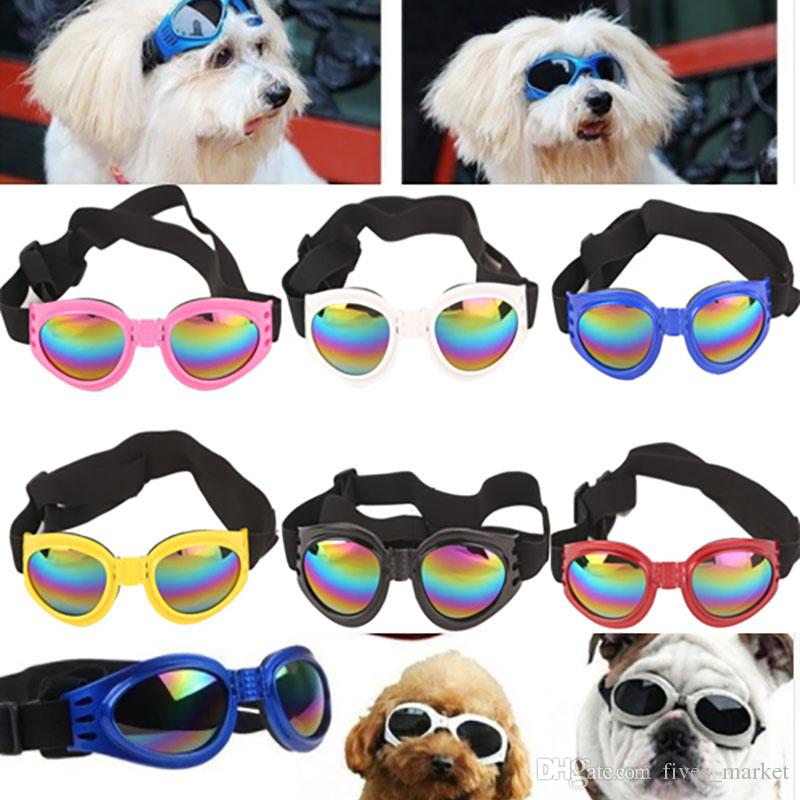 5 Colors Dog Glasses Foldable Sunglasses Medium Large Dog Glasses Big Pet Waterproof Eyewear Protection Goggles UV Sunglasses DHL FHH7-1207