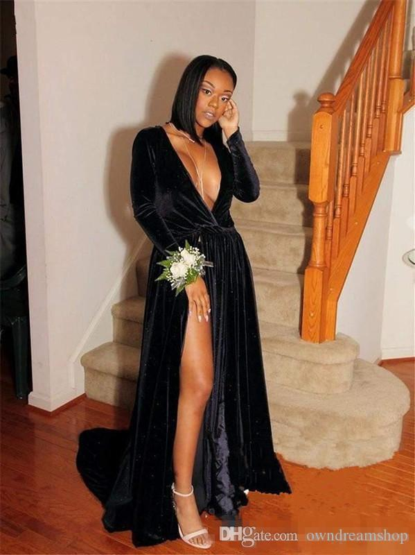 Hot Sexy Deep V Neck Evening Gowns Black Long Sleeves High Split African Prom Dresses Custom Made Cocktail Formal Party Dress