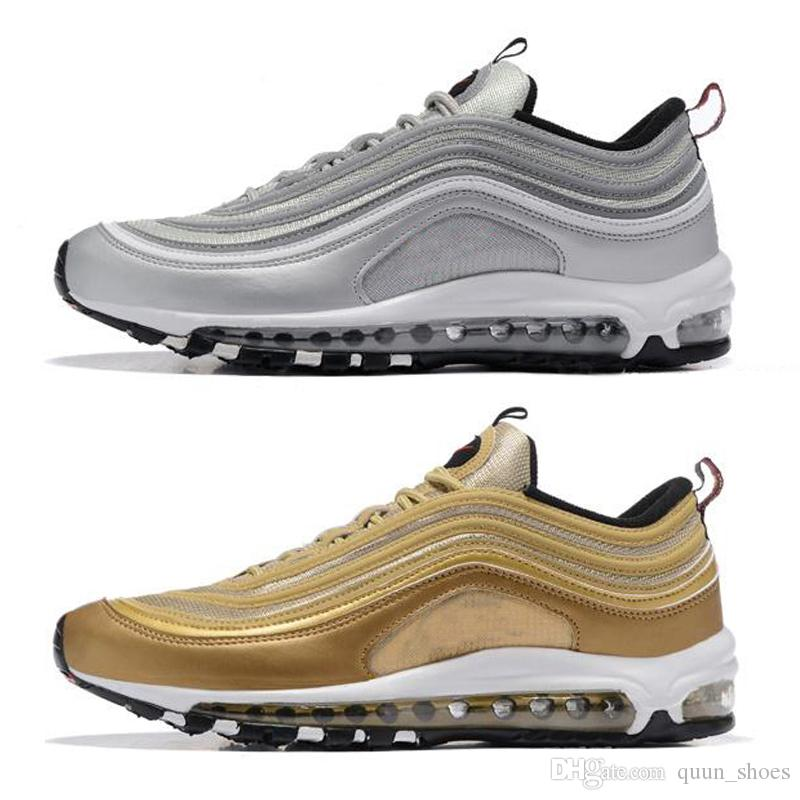 10 97 OG Tripel White Metallic Gold Silver Bullet Best quality WHITE 3M Premium Running Shoes with Box Men Women Free shipping clearance cheap w0vQ94SRDy