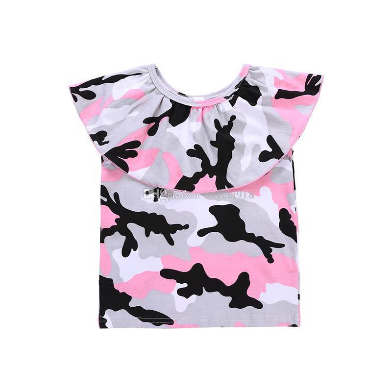 Bebê meninas roupas crianças Camuflagem Fora Do Ombro top + saias de couro PU 2 pçs / set 2018 ternos de verão Boutique crianças Conjuntos de Roupas C4088