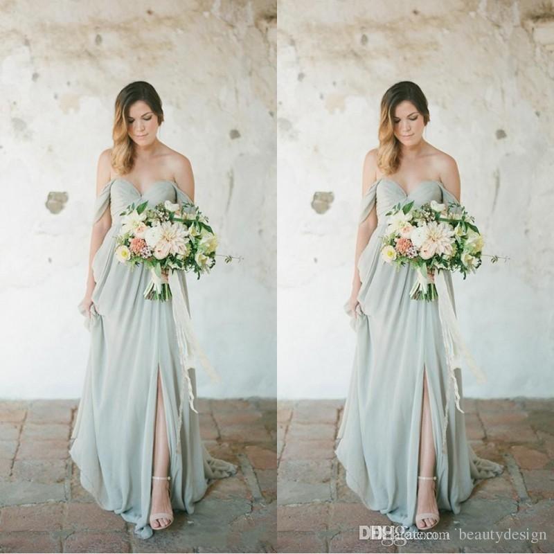 Grosshandel Boho Brautjungfernkleider 2018 Elegante Lange Fur