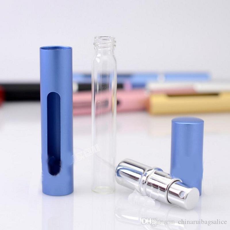 5 ml refillable perfume 병 미니 휴대용 여행 Atomizer 병 심장 모양의 유리 병 안에 알루미늄 튜브
