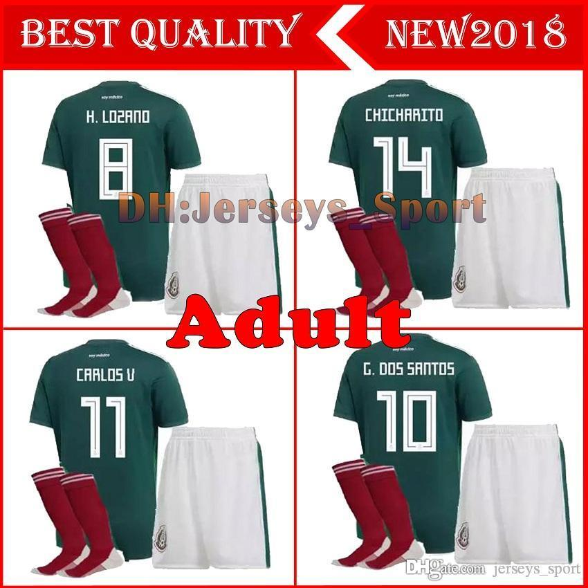 3866c788743 2019 2017 Mexico National Team Adult Mexico Kits Soccer Jerseys Uniform Home  Green Men Set 2018 World Cup G.Dos Santos CHICHARITO Football Shirts From  ...