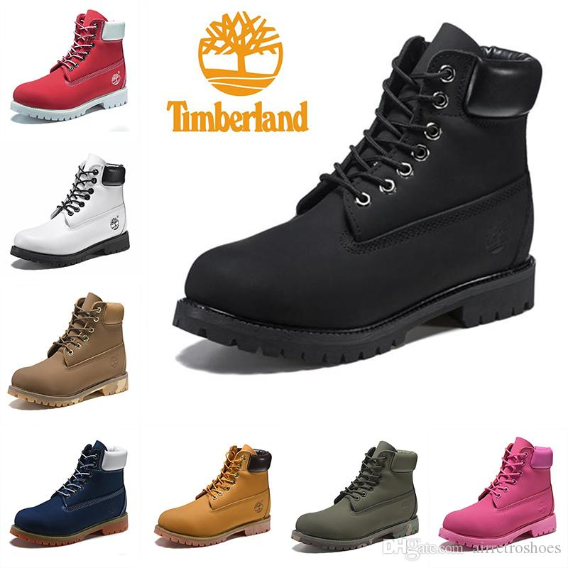 Original Timberland Boots Women Men Designer Sports Red White Shoes ... ce12b830e