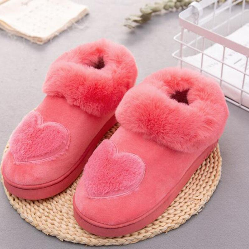 0c4f45bcde8 Women Winter Hot Sale Warm Cotton Slippers Shoes Plush Design Heart Printed  Mules Shoes Female Non-slip Wear-resisting Slippers