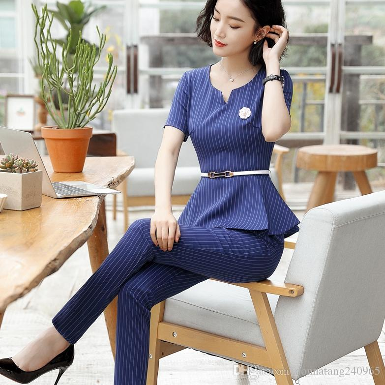 25d22fd1304a 2019 Formal Uniform Design Short Sleeve 2018 Summer Female Pantsuits Ladies  Office Work Wear Tops And Pants Suits Trousers Set Black From  Donnatang240965