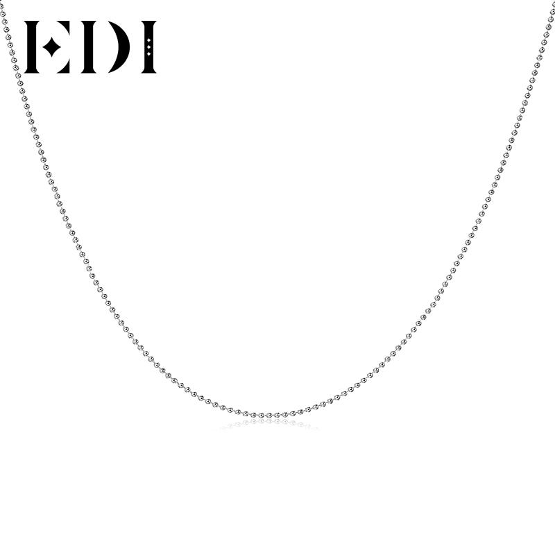 EDI 1mm Italy Ball Bead Chain With Round Clasp 16 Inch and 18 Inch Pure 925  Sterling Silver Necklace For Women