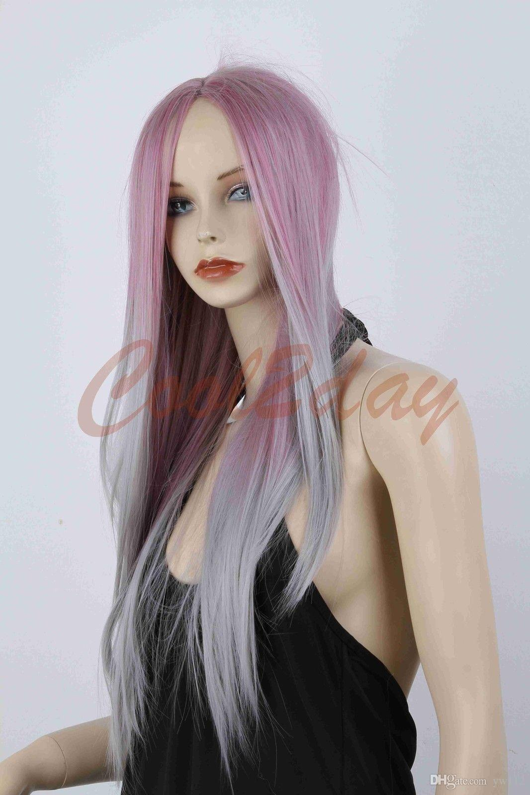 Women Sexy Fashion Long Straight Hair Full Wig Ombre Purple Silver Grey Mix  Wigs Black Hair Wig Childrens Wigs From Yw112 f85887bee