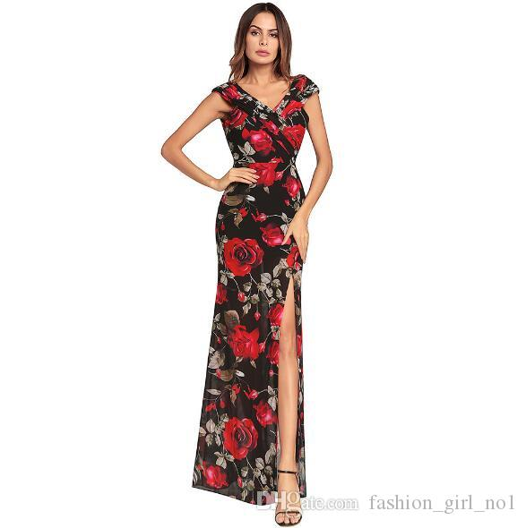 7d78fa9f89 2018 Spring Explosions Women S Irregular Slit Dress V Neck Print Chiffon Dress  Sexy Print Casual Long Dresses Womens Sundresses On Sale Party And Evening  ...