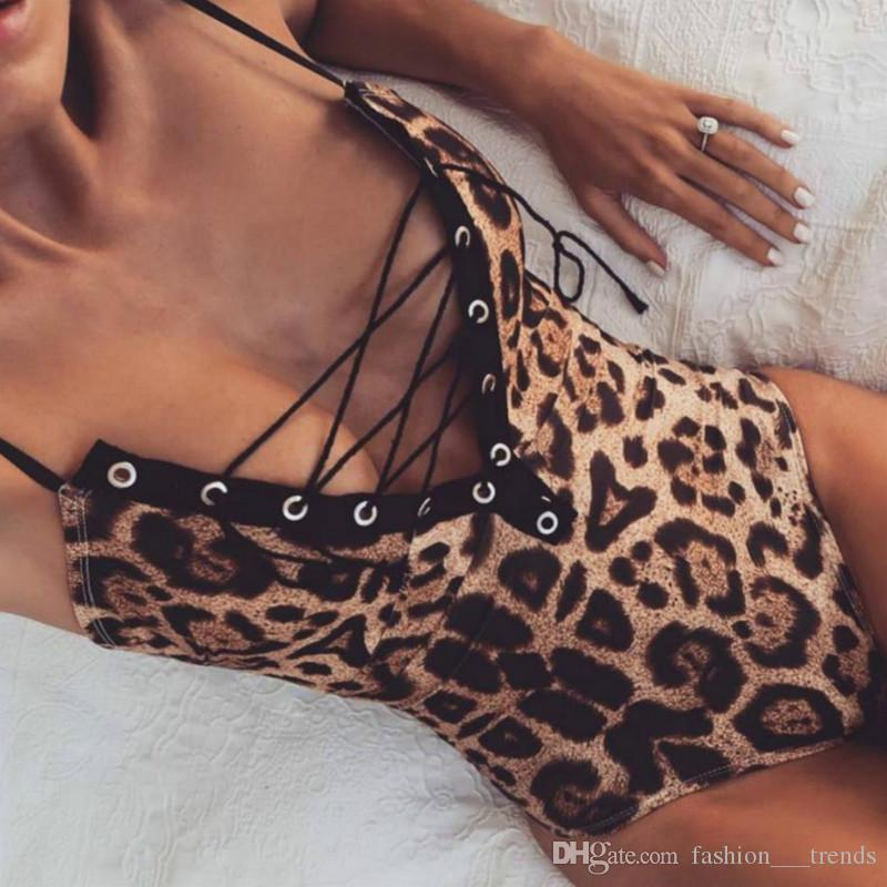 24ecc985ca64 2019 Femme Deep V Neck Lace Up Jumpsuits Sexy Leopard Bodysuit Women Body  Fitness Jumpsuits Sleeveless Backless Catsuit Leotard Ladies Overalls From  ...