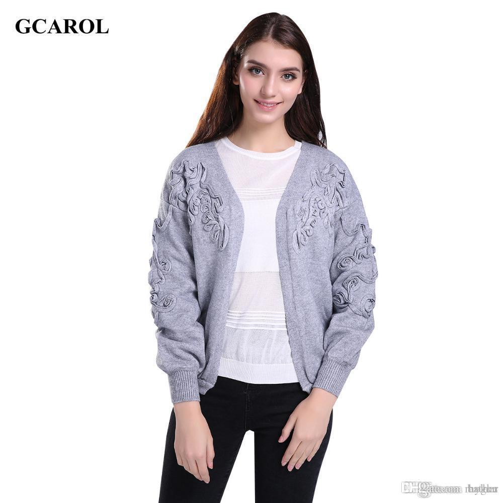095f6cea68 Wholesale-Women Korean Open Stitch Lantern Sleeve Cardigan Floral Ruched  Design Crop Knitted Coat Stretch Casual Basic Knitted Sweater Coat of Arm  Designs ...