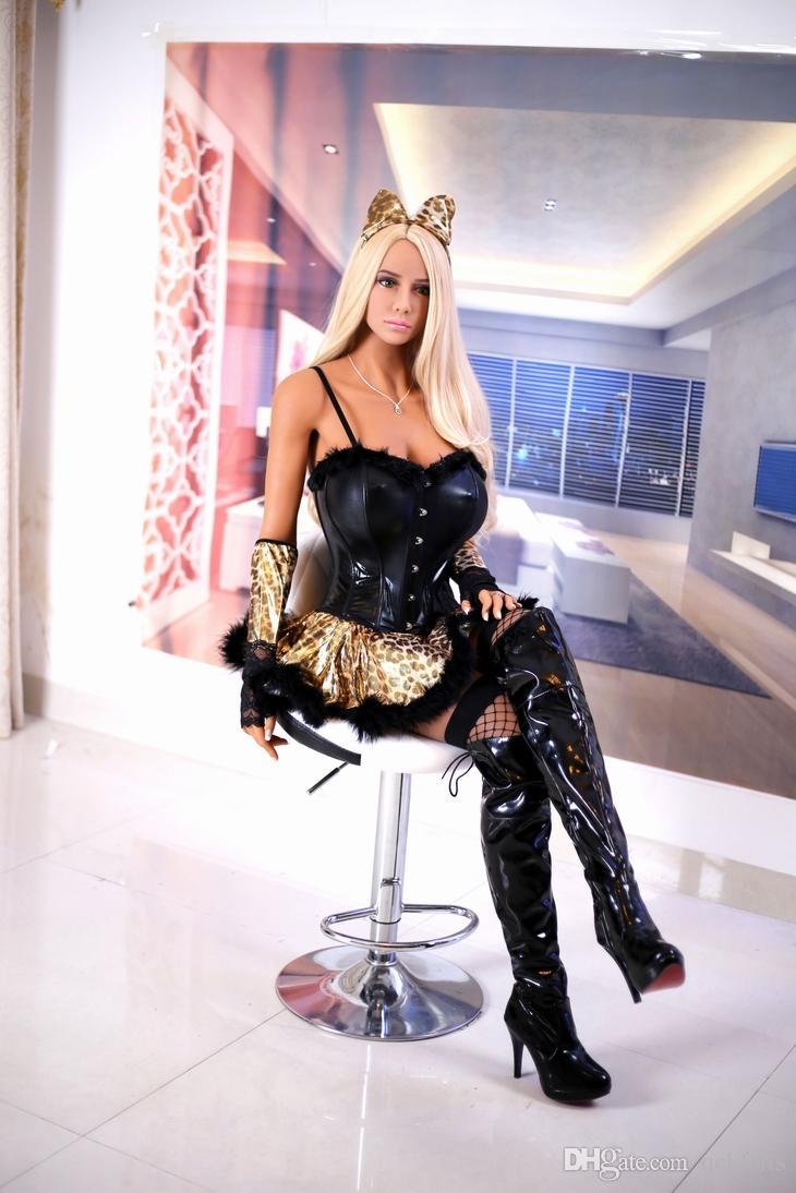 Ingrosso a grandezza naturale Bambole sessuali Femmine Leopard Ear Love Dolls Tan Skin Wild Hot Woman Vestito con minigonna con stampa leopardata
