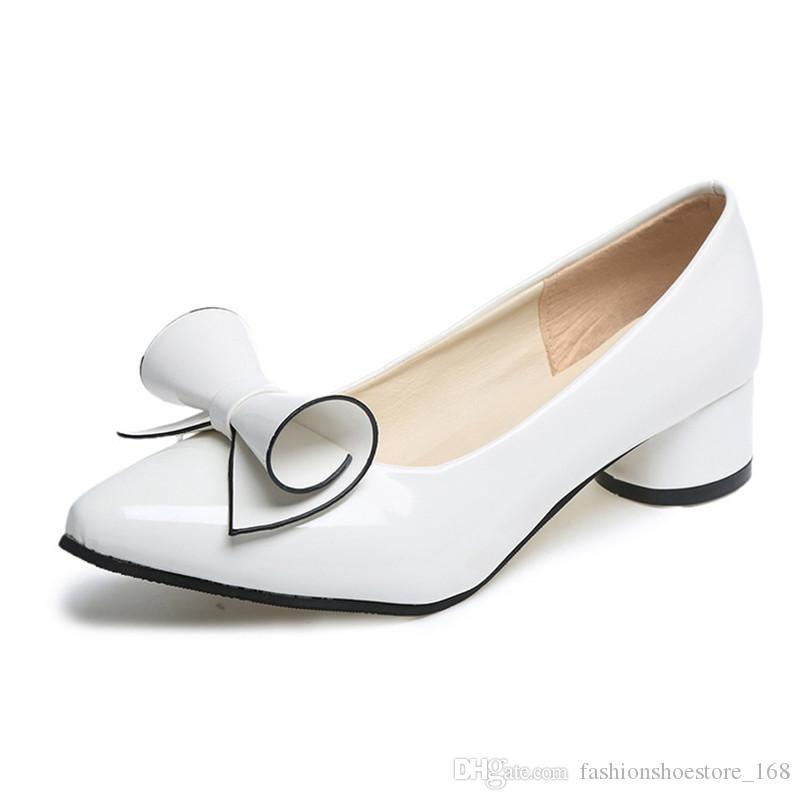 70a18a57ee9 Shoes Women Bow Low Heels Ladies Heels Bridal Shoes Patent Leather Footwear  Female White Red Heels Escarpins Femme 2018 Plus Size 42 43