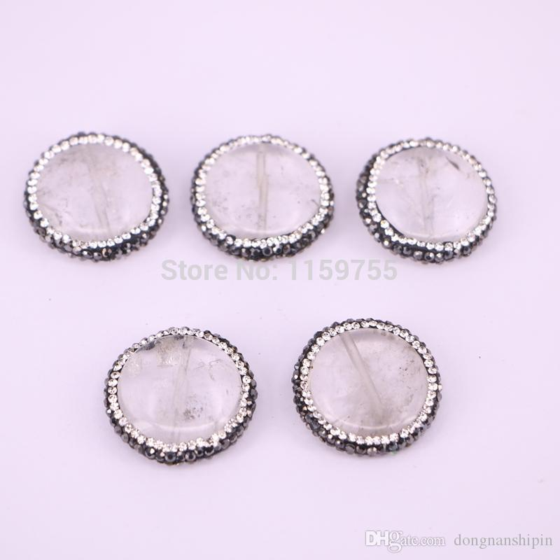 DIY 10PCS Round shape nature stone spacer beads, crystal rhinestone paved side hole gems stone beads findings