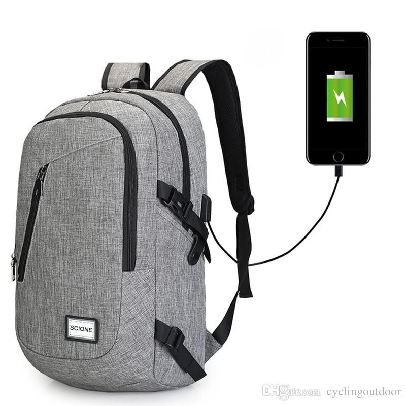 f17e1b1c062a0 Großhandel Computer Laptop USB Lade Rucksack Schultasche Pack Erwachsenen  Student Bag Business Rucksack Männlich Unisex Wasserdicht Reiserucksack Von  ...
