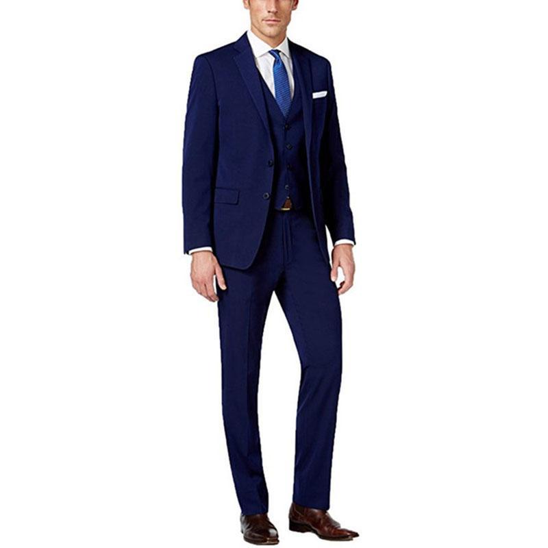 Acquista Custom Made Blu Scuro Degli Uomini Vestito Degli Uomini Vestito Dello  Sposo Business Formale 3 Pezzi Slim Fit Smoking Dello Sposo Di Nozze Jacket  + ... c5a9d8a89c8