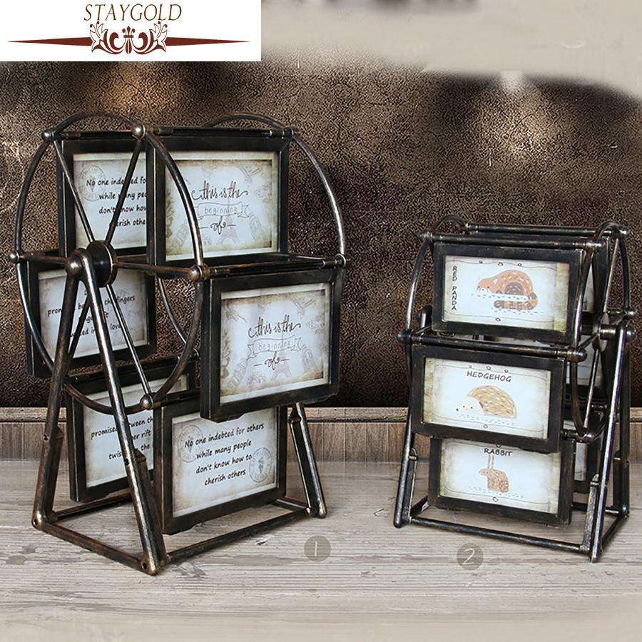 Acheter staygold vintage home decor shabby chic cadre de la grande roue moulin à vent rotatif décoration de la maison accessoires enfeites para casa de