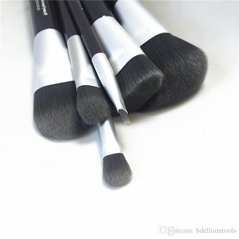 Deluxe Charcoal Antibacterial Brush Set - 6-Brushes Antibacterial Synthetic Hair Brush kit - Beauty Makeup Brushes Blender