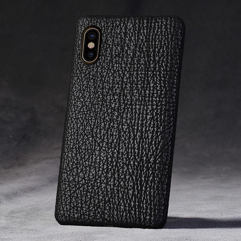 online store 7fd30 47ebb luxurious Cover For Apple iPhone X Xs Max XR Back Case Genuine Shark Skin  Leather Mobile Phone Rear Cover