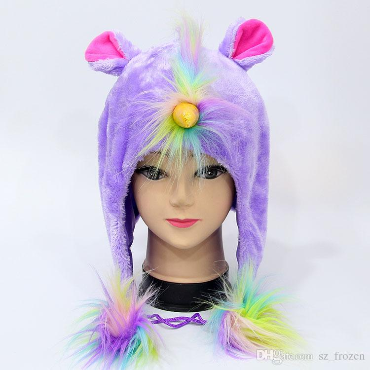 U-N-I-C-O-R-N Plush Hat Collar Kid's Korean version of the autumn and winter Children's plush cap A-0514