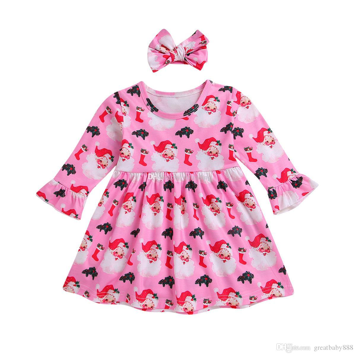 3bda3d10fd89 Baby Girls Christmas Dress Children Santa Claus Print Princess Dress ...