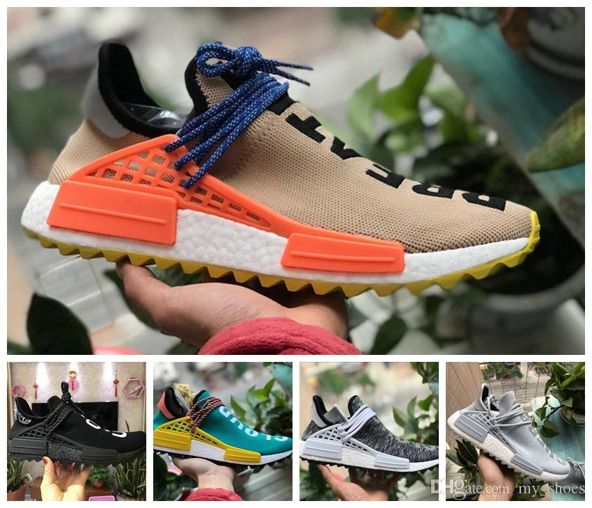 f11043eb8 2019 Human Race Running Shoes Pharrell Williams Hu Trail Cream Core Black  Nerd Equality Holi Nobel Ink Trainers Mens Women Sports Sneaker From  My shoes