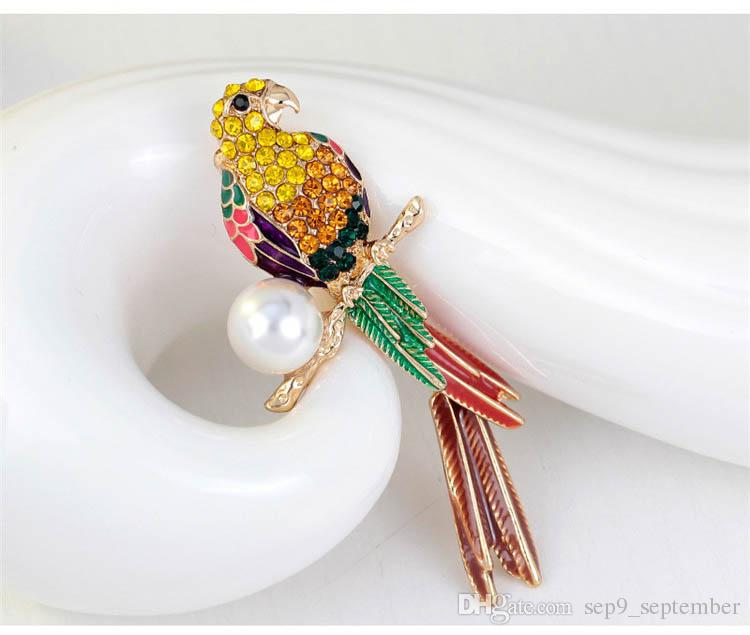 Bird Brooches Elegant Pearl Brooch for Women Gift Rhinestone Brooches Crystal Costume Jewelry Clothes Accessories Jewelry