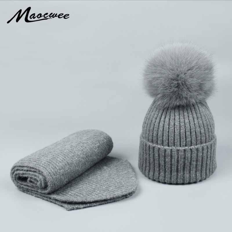 1bcaf69b New Knitted Winter Hat Scarf Set Skullies Real Fox Fur Pompom Women Thick  Beanies And Scarf Female Knitted Winter Girls Gift Ladies Hats Crazy Hats  From ...