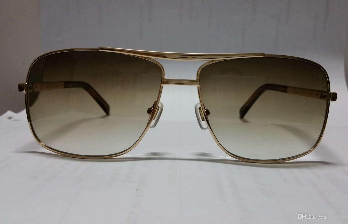 Mens Square Attitude Pilote Gold Brown Sunglasses Sonnenbrille Z0256u Designer Brand Sunglasses Eyewear New With Box